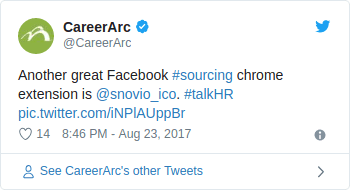 Career Arc twitted - Another great Facebook #sourcing chrome extension is snovio_ico.