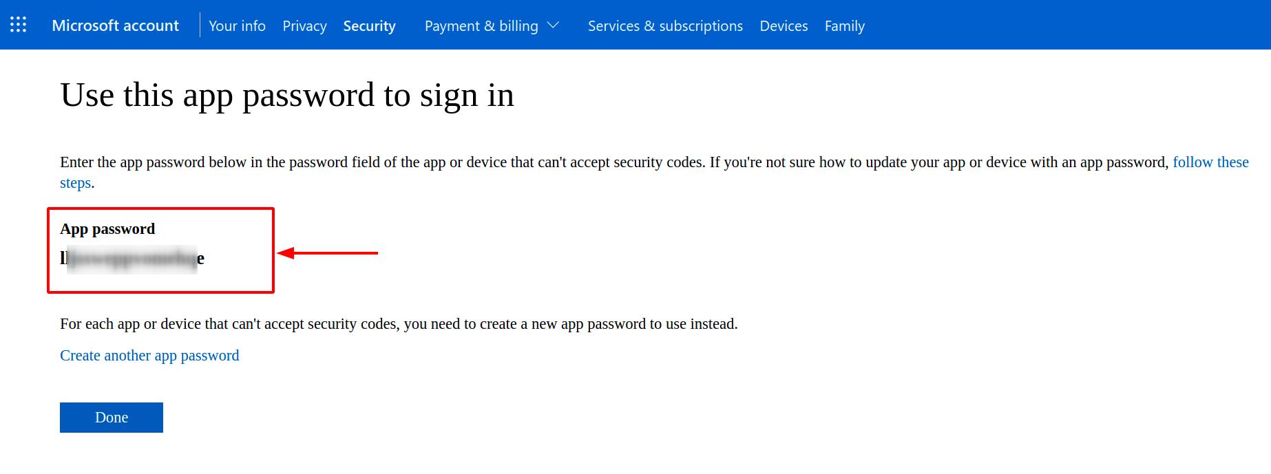 Copy the app password