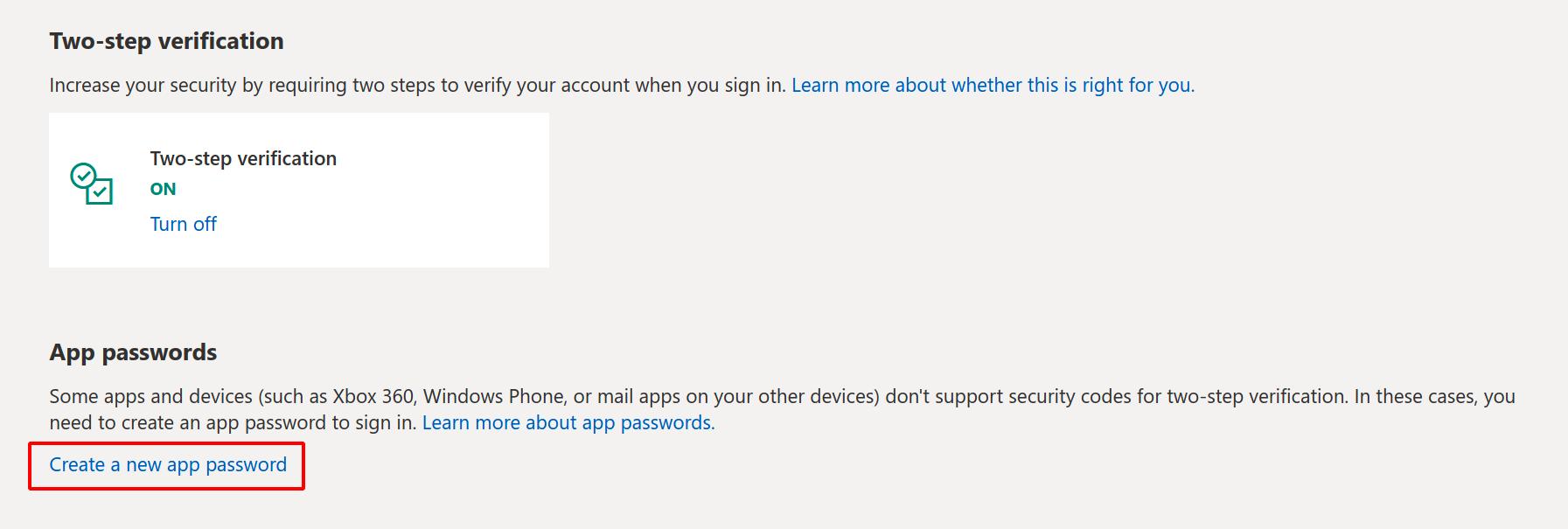 Create an app password